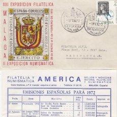 Sellos: EJERCITO EXPEDICIONARIO MELILLA XXI EXPOSICION, MALAGA 1972. MATASELLOS SOBRE ILUSTRADO+FOLLETO RARO. Lote 21679862