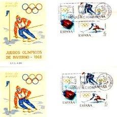 Sellos: 3 SOBRES PRIMER DIA FRANQUEADOS - TEMATICA JUEGOS OLIMPICOS (OLIMPIADAS) 1968. Lote 26496964