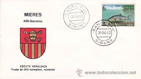 MIERES (GERONA) - 429 GARROTXA - ESCUTS HERÁLDICS (ESCUDOS HERÁLDICOS). PENYA FILATÉLICA VILANOVA I (Sellos - Historia Postal - Sello Español - Sobres Primer Día y Matasellos Especiales)