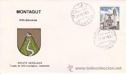 MONTAGUT (GERONA) - 443 GARROTXA - ESCUTS HERÁLDICS (ESCUDOS HERÁLDICOS). PENYA FILATÉLICA VILANOVA (Sellos - Historia Postal - Sello Español - Sobres Primer Día y Matasellos Especiales)