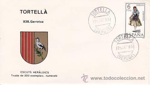 TORTELLÁ (GERONA) - 838 GARROTXA - ESCUTS HERÁLDICS (ESCUDOS HERÁLDICOS). PENYA FILATÉLICA VILANOVA (Sellos - Historia Postal - Sello Español - Sobres Primer Día y Matasellos Especiales)