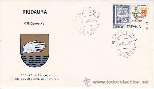 RIUDAURA (GERONA) - 617 GARROTXA - ESCUTS HERÁLDICS (ESCUDOS HERÁLDICOS). PENYA FILATÉLICA VILANOVA (Sellos - Historia Postal - Sello Español - Sobres Primer Día y Matasellos Especiales)