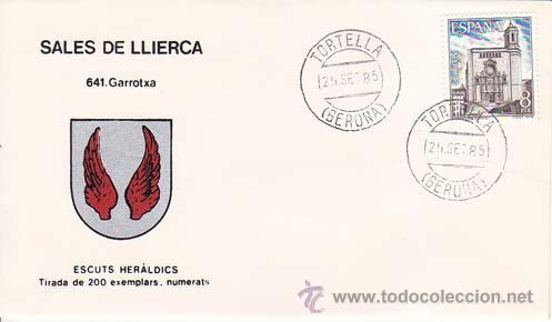 SALES DE LLIERCA ( GERONA) - 641 GARROTXA - ESCUTS HERÁLDICS (ESCUDOS HERÁLDICOS). PENYA FILATÉLICA (Sellos - Historia Postal - Sello Español - Sobres Primer Día y Matasellos Especiales)