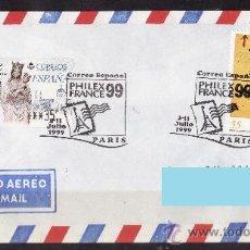 Sellos: CARTA CIRCULADA ATM ALMUDENA EN PTAS SELLO CENTENARIO BARÇA MATASELLOS CORREO ESPAÑOL EN PARIS 1999. Lote 26731558