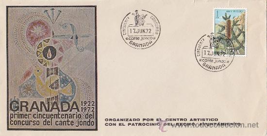 CANTE JONDO: PRIMER CINCUENTENARIO DEL CONCURSO, GRANADA 1972. MATASELLOS EN RARO SOBRE. GMPM. (Sellos - Historia Postal - Sello Español - Sobres Primer Día y Matasellos Especiales)