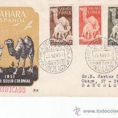 Sellos: SAHARA DROMEDARIOS DIA DEL SELLO 1951 (EDIFIL 91/93) EN SOBRE PRIMER DIA CIRCULADO DE DP. RARO ASI.. Lote 27768729