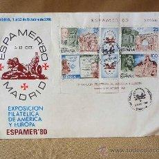 Sellos: SOBRE, EXPOSICION FILATELICA 1980, AMERICA Y EUROPA, ESPAMER 80, MADRID. Lote 27785887