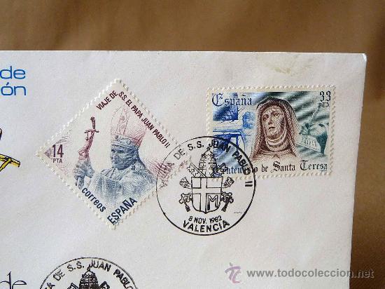 Sellos: SOBRE PRIMER DIA, VISITA A ESPAÑA, PAPA JUAN PABLO II, NOVIEMBRE 1982, MATASELLOS DE VALENCIA - Foto 2 - 27772254