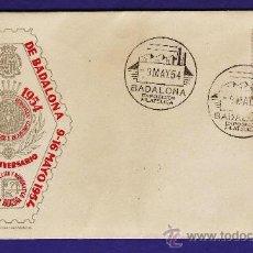 Sellos: BADALONA - EXPOSICION FILATELICA - 50 ANIV. CAJA PENSIONES - SOBRE MATASELLO - ED.OFICIAL - AÑO 1954. Lote 27916099