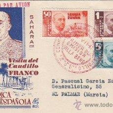 Sellos: SAHARA VISITA DEL GENERAL FRANCO 1951 (EDIFIL 88/90) EN SOBRE PRIMER DIA CIRCULADO DE DP. RARO ASI.. Lote 27988018