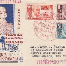 Sellos: SAHARA VISITA DEL GENERAL FRANCO 1951 (EDIFIL 88/90) EN SOBRE PRIMER DIA CIRCULADO DE DP. RARO ASI.. Lote 28205360