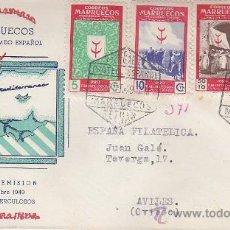Sellos: MARRUECOS PRO TUBERCULOSOS 1949 (EDIFIL 307/11) EN SOBRE PRIMER DIA CIRCULADO CON RARA ILUSTRACION.. Lote 28407690
