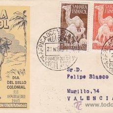 Sellos: SAHARA DROMEDARIOS DIA DEL SELLO 1951 (EDIFIL 91/93) SOBRE PRIMER DIA CIRCULADO SERVICIO FILATELICO.. Lote 28620081