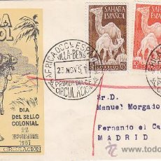 Sellos: SAHARA DROMEDARIOS DIA DEL SELLO 1951 (EDIFIL 91/93) SOBRE PRIMER DIA CIRCULADO SERVICIO FILATELICO.. Lote 28620091