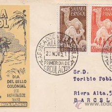 Sellos: SAHARA DROMEDARIOS DIA DEL SELLO 1951 (EDIFIL 91/93) SOBRE PRIMER DIA CIRCULADO SERVICIO FILATELICO.. Lote 28620096