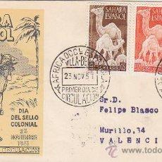 Sellos: SAHARA DROMEDARIOS DIA DEL SELLO 1951 (EDIFIL 91/93) SOBRE PRIMER DIA CIRCULADO SERVICIO FILATELICO.. Lote 28620103
