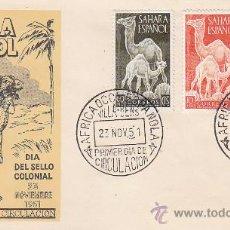 Sellos: SAHARA DROMEDARIOS DIA DEL SELLO 1951 (EDIFIL 91/93) EN SOBRE PRIMER DIA DEL SERVICIO FILATELICO MPM. Lote 28620140