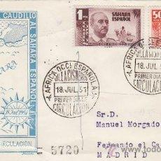 Sellos: SAHARA VISITA DEL GENERAL FRANCO 1951 (EDIFIL 88/89) RARO SPD CIRCULADO DEL SERVICIO FILATELICO. MPM. Lote 28620381