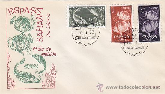 SAHARA PECES PRO INFANCIA 1962 (EDIFIL 209/11) EN SOBRE PRIMER DIA DEL SERVICIO FILATELICO. MPM. (Sellos - Historia Postal - Sello Español - Sobres Primer Día y Matasellos Especiales)
