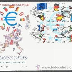 Sellos: ESPAÑA . SOBRE PRIMER DIA . PAISES DEL EURO . BANDERA COMUNITARIA. EDIFIL 3632/43. Lote 29017502