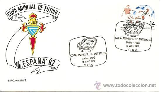 SOBRE PRIMER DIA COPA MUNDIAL DE FUTBOL ´82 ITALIA-PERU 18,JUNIO 1982 (Sellos - Historia Postal - Sello Español - Sobres Primer Día y Matasellos Especiales)