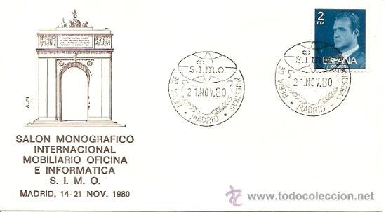 SOBRE PRIMER DIA FERIA DE S.I.M.O MUESTRAS MADRID,14-21 NOV.1980 (Sellos - Historia Postal - Sello Español - Sobres Primer Día y Matasellos Especiales)