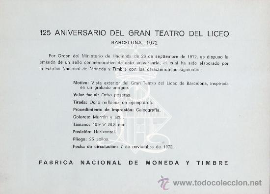 Sellos: HOJA RECUERDO (EDIFIL 6) 125 ANIVERSARIO GRAN TEATRO DEL LICEO MATASELLOS BARCELONA 1972. GMPM. - Foto 2 - 29366755