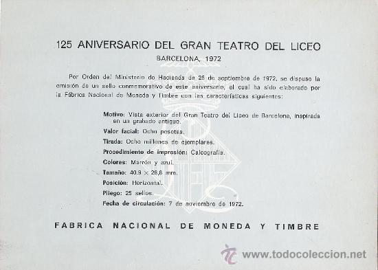 Sellos: HOJA RECUERDO (EDIFIL 6) 125 ANIVERSARIO GRAN TEATRO DEL LICEO MATASELLOS BARCELONA 1972. GMPM. - Foto 2 - 29374681