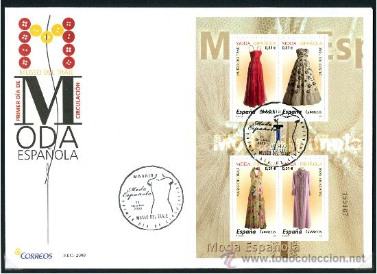 SOBRE PRIMER DIA (SPD) - MODA ESPAÑOLA 2008 (Sellos - Historia Postal - Sello Español - Sobres Primer Día y Matasellos Especiales)