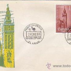 Sellos: SAHARA AYUDA A SEVILLA 1963 (EDIFIL 215/16) SOBRE PRIMER DIA DEL SERVICIO FILATELICO DE CORREOS MPM. Lote 30555636