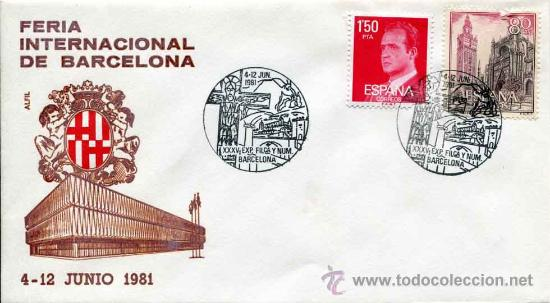 SOBRE COMMEMORATIVO FERIA INTERNACIONAL DE BARCELONA - 1981 - DIBUJO LACADO (Sellos - Historia Postal - Sello Español - Sobres Primer Día y Matasellos Especiales)