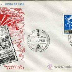 Sellos: SOBRE 26 FERIA OFI. INTER. MUESTRAS BARCELONA - 12 ESPOSICION CIRCULO FILATEICO NUMISMATICO 1958. Lote 31370789