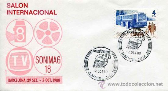 SOBRE COMMEMORATIVO SONIMAG - BARCELONA AÑO 1980 (Sellos - Historia Postal - Sello Español - Sobres Primer Día y Matasellos Especiales)