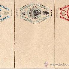 Sellos: TRES SOBRES PRIMER DIA III EXP. FILATÉLICA DE BADALONA AÑO 1954, 50 ANIVERSARIO CAJA DE PENSIONES. Lote 32397707