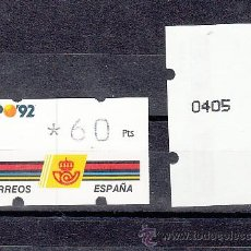 Sellos: ETIQUETA ATMS C.1.2 NUEVA KLUSSENDORF, 60 PTS VARIEDAD RAYA NEGRA VERTICAL, EXPO 92. Lote 32455868