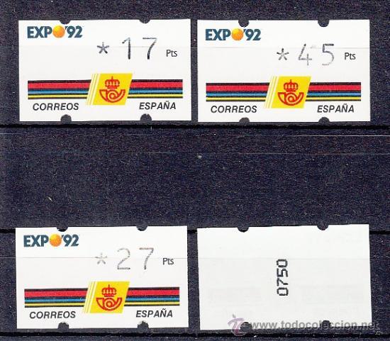 ETIQUETA ATMS C.1.2 NUEVA KLUSSENDORF, CON Nº 0, EXPO 92 (Sellos - Historia Postal - Sello Español - Sobres Primer Día y Matasellos Especiales)