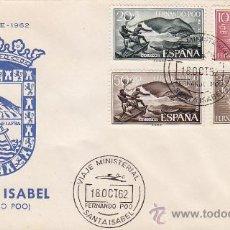 Sellos: VIAJE MINISTERIAL, SANTA ISABEL FERNANDO POO 18 OCTUBRE 1962. RARO MATASELLOS SOBRE ILUSTRADO ESCUDO. Lote 33445734