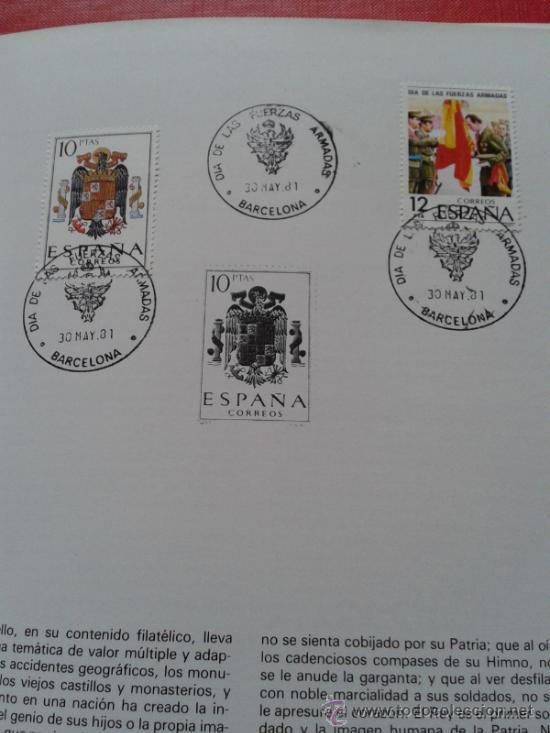 Sellos: Catálogo exposición filatélica homenaje fuerzas armadas españolas Barcelona con sellos matasellados - Foto 2 - 33913925