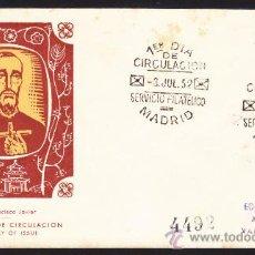 Sellos: SOBRE PRIMER DIA DE CIRCULACION 1952 IV CENTENARIO DE LA MUERTE DE SAN FRANCISCO MATASELLO MADRID. Lote 33986952