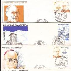 Sellos: ANDORRA 1985 - 1987, 5 SOBRES PRIMER DIA, VARIOS TEMAS, MATASELLO ANDORRA LA VELLA. Lote 34009195