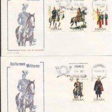 Sellos: 2 SOBRES PRIMER DIA UNIFORMES MILITARES ESPAÑA 1978, SERIE COMPLETA MATASELLO MADRID. Lote 34009336