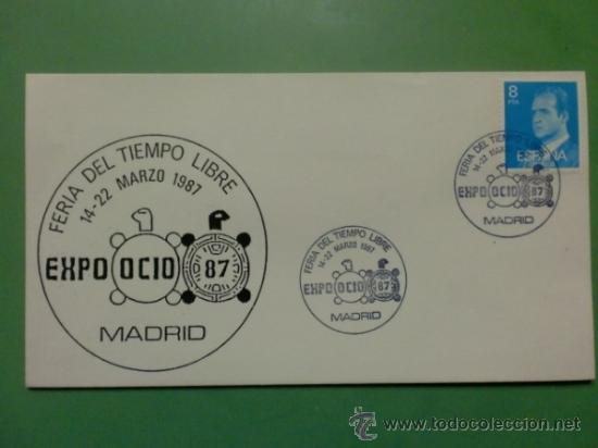 SOBRE CON MATASELLOS DE MADRID 1987. EXPO OCIO 87. FERIA DEL TIEMPO LIBRE (Sellos - Historia Postal - Sello Español - Sobres Primer Día y Matasellos Especiales)