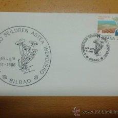 Sellos: SOBRE CON MATASELLOS DE BILBAO 1986. II PERRETXICO SEILUREN ASTEA IBERDUERO. Lote 34487807