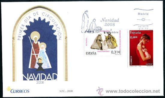 SOBRE PRIMER DIA - NAVIDAD 2008 (Sellos - Historia Postal - Sello Español - Sobres Primer Día y Matasellos Especiales)