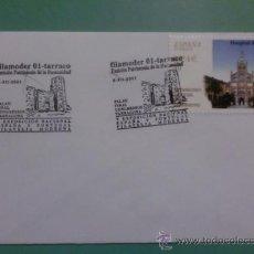 Sellos: SOBRE CON MATASELLOS DE TARRACO 2001. FILAMODER. V EXPO NACIONAL ESPAÑA Y PORTUGAL FILATELIA MODERNA. Lote 34797242