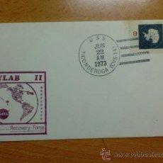 Sellos: SOBRE CON MATASELLOS DE U. S. A. U.S. TICONDEROGA (CVS-14) 1973. SKYLAB II.. Lote 34871391