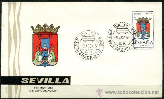 SOBRE PRIMER DIA - ESCUDO SEVILLA (Sellos - Historia Postal - Sello Español - Sobres Primer Día y Matasellos Especiales)