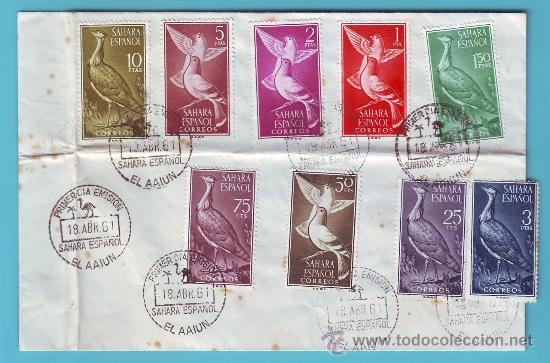 SAHARA 1961, SOBRE PRIMER DIA MATASELLOS EL AAIUN (Sellos - Historia Postal - Sello Español - Sobres Primer Día y Matasellos Especiales)