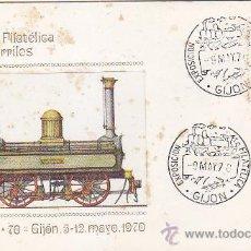 Sellos: TRENES: EXFITREN-70: EXP. FIL. FERROCARRIL, GIJON (ASTURIAS) 1970. MATASELLOS EN SOBRE DE M.F. RARO.. Lote 36600260