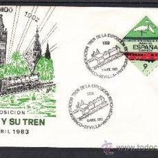 Sellos: 1983 SEVILLA 8/4 OFICIAL, FF.CC., CONMEMORACION TREN DE LA EXPOSICION IBEROAMERICANA 1929. Lote 168055981